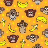 Seamless pattern with cute faces of monkeys and bananas. Royalty Free Stock Images