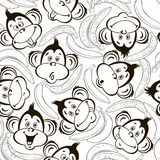 Seamless pattern with cute faces of monkeys and bananas. Kids mo. Cute face monkeys and bananas. Monochrome  background Stock Photos