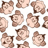 Seamless pattern with cute faces of monkeys. Kids  background. Royalty Free Stock Photo