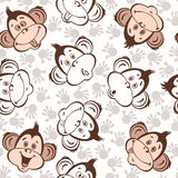 Seamless pattern with cute faces of monkeys. Kids  background. Vector pattern with cute monkeys. Animal background Stock Photo