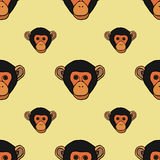 Seamless pattern with cute faces of monkeys. Stock Photo