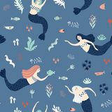 Marine seamless pattern with mermaids Royalty Free Stock Photos