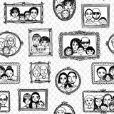 Seamless pattern of cute family portraits Stock Photo