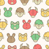 Seamless pattern with cute farm animals. Seamless regular pattern with farm animals snouts (lamb, cow, pig, rabbit) in cute childish style. Happy and babyish stock illustration