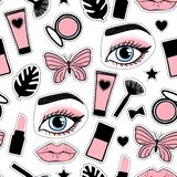 Seamless pattern fashion style. Abstract beauty makeup face hand drawing. Vector illustration is isolated on a white background. Seamless pattern cute fashion royalty free illustration