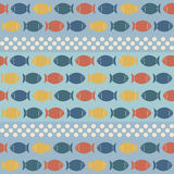 Seamless Pattern with Cute Fish in Retro Colors. Royalty Free Stock Images