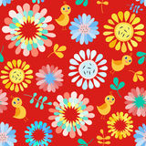 Seamless pattern with cute  flowers and birds. Royalty Free Stock Photos
