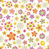Seamless pattern with cute flowers. Seamless pattern with cute funny cartoon flowers and herbs. The good choice for childrens accessories, fabric and other Royalty Free Stock Photography