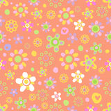 Seamless pattern with cute flowers. Seamless pattern with cute funny cartoon flowers and herbs on pink background. The good choice for childrens accessories Stock Images