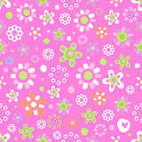 Seamless pattern with cute flowers. Seamless pattern with cute funny cartoon flowers and herbs on pink background. The good choice for childrens accessories Royalty Free Stock Photos