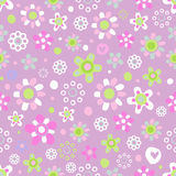 Seamless pattern with cute flowers. Seamless pattern with cute funny cartoon flowers and herbs on violet background. The good choice for childrens accessories Royalty Free Stock Images