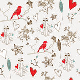 Seamless pattern. With cute  flowers, hearts and birds Royalty Free Stock Photography