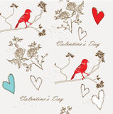 Seamless pattern. With cute  flowers, hearts and birds Stock Photo