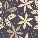 Seamless pattern with cute flowers, leaves and decorative elemen Stock Photography