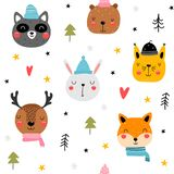 Seamless pattern with cute animals head royalty free stock photo