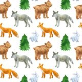 Seamless pattern with cute forest animals: wolf, bear, fox, hare. Hand drawn watercolor illustration. Texture for print, fabric, stock illustration