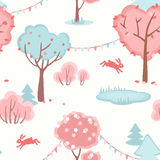 Seamless pattern with cute forest of love.  Royalty Free Stock Photo