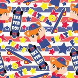 Seamless pattern of cute fox boy and skateboards on striped background. Cartoon illustration for baby shower wrapping paper, fabric clothes, and wallpaper Royalty Free Stock Image