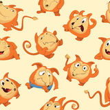 Seamless pattern with cute fox in different moods. Laughing, sad, smiling, suspicious, cheerful and furious cartoon Stock Images