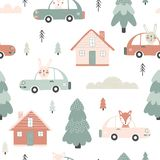 Seamless pattern with houses and cars royalty free stock images