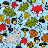 Seamless pattern with cute fox and small hare in the forest. Stock Photos