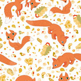 Seamless pattern of cute foxes and leaves Stock Photos