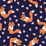 Seamless pattern cute foxes and mushrooms Stock Photo