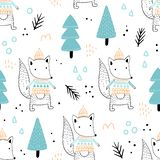 Seamless pattern with cute foxes stock images