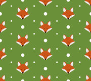 Seamless pattern with cute foxes. Vector illustration Stock Photo