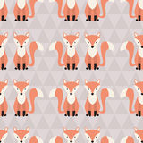 Seamless pattern with cute foxes. Stock Photography