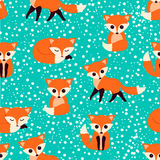 Seamless pattern with cute foxes. Vector illustration. Royalty Free Stock Photo