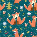 Seamless pattern with cute foxes in the woods. Vector forest texture Royalty Free Stock Photography