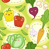 Seamless pattern with cute fresh vegetables Stock Image
