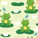 Seamless pattern with cute frog Stock Photos