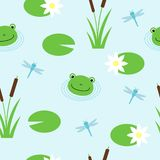 Seamless pattern with cute frogs and dragonflies. Vector background for kids. royalty free illustration