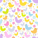 Seamless pattern with cute funny cartoon birds. Stock Image