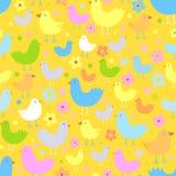 Seamless pattern with cute funny cartoon birds. Stock Photo