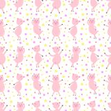Seamless pattern with cute funny dancing pigs. vector illustration stock illustration