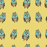 Seamless pattern with cute funny hand drawn owls. Stock Photography
