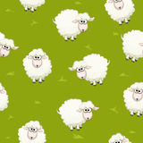 Seamless pattern with cute funny herd white sheeps on grass Royalty Free Stock Image