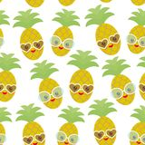 Seamless pattern cute funny kawaii exotic fruit pineapple with sunglasses on white background. Hot summer day, pastel colors card Stock Photo