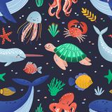 Seamless pattern with cute funny marine animals or happy underwater creatures living in sea. Ocean fauna. Flat cartoon. Childish vector illustration for textile stock illustration