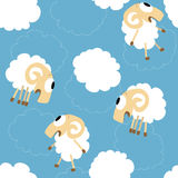 Seamless pattern with cute funny sheep Stock Photos
