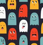 Seamless pattern with cute ghosts. Spooks background. Halloween funny texture. Stock Photo