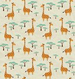 Seamless pattern with cute giraffes and trees Stock Photo
