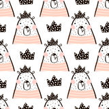 Seamless pattern with cute girl bear bears princess . Perfect for fabric,textile.Vector background.  vector illustration