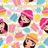 Seamless pattern of cute girl, birthday cake and gift on striped background  cartoon illustration for Birthday wrapping pape. R, kid fabric clothes, and Royalty Free Stock Images