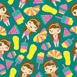 Seamless pattern of cute girl and summer elements stock images