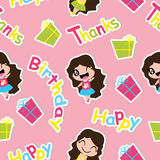 Seamless pattern of Cute girls and birthday gifts on pink background, carton, for kid scrap paper and postcard. Seamless pattern of Cute girls and birthday gifts vector illustration