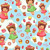 Happy sweet pattern. Seamless pattern with cute girls and sweets Royalty Free Stock Photos